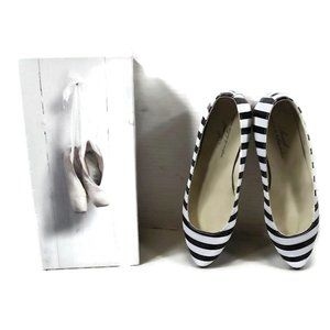 ANNIEL Ballet Flats Sz 36 Black & White Ballerina